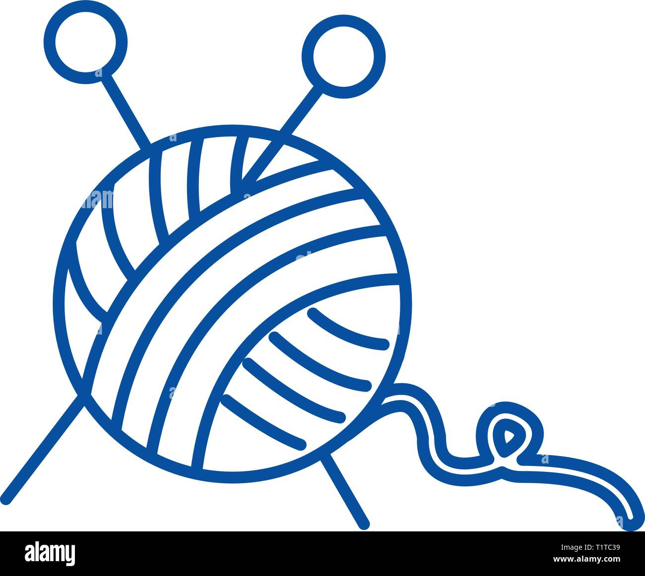 Sewing,ball of yarn,knitting needles line icon concept. Sewing,ball of yarn,knitting needles flat  vector symbol, sign, outline illustration. - Stock Vector