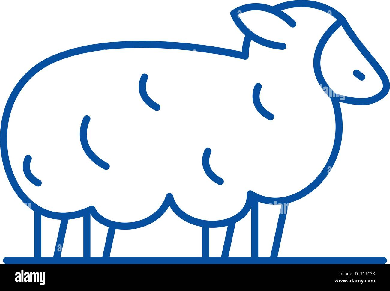 Sheep line icon concept. Sheep flat  vector symbol, sign, outline illustration. - Stock Vector