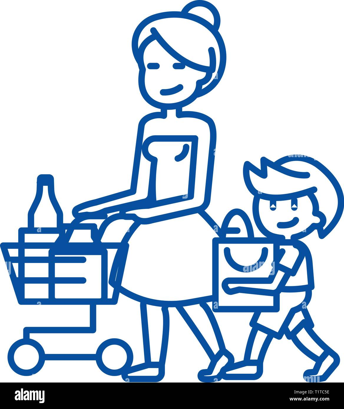 Shopping grocery,mother with son  line icon concept. Shopping grocery,mother with son  flat  vector symbol, sign, outline illustration. - Stock Image