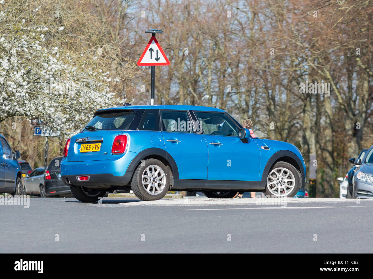 Metallic Blue Mini One hatchback car from 2015 in the UK. - Stock Image