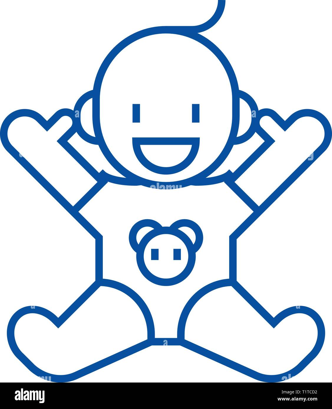 Smile newborn with opened hands  line icon concept. Smile newborn with opened hands  flat  vector symbol, sign, outline illustration. - Stock Vector