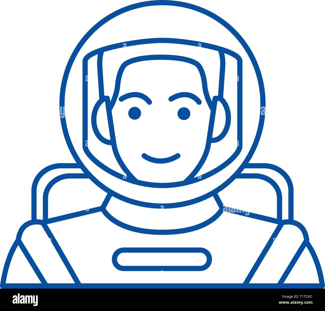 Spaceman,astronaut in helmet line icon concept. Spaceman,astronaut in helmet flat  vector symbol, sign, outline illustration. - Stock Image
