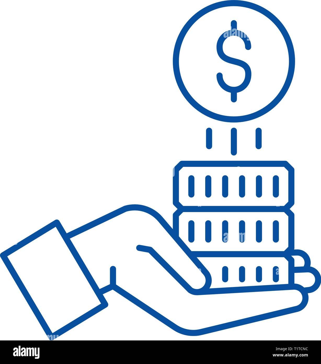 Sponsorship money line icon concept. Sponsorship money flat  vector symbol, sign, outline illustration. - Stock Image