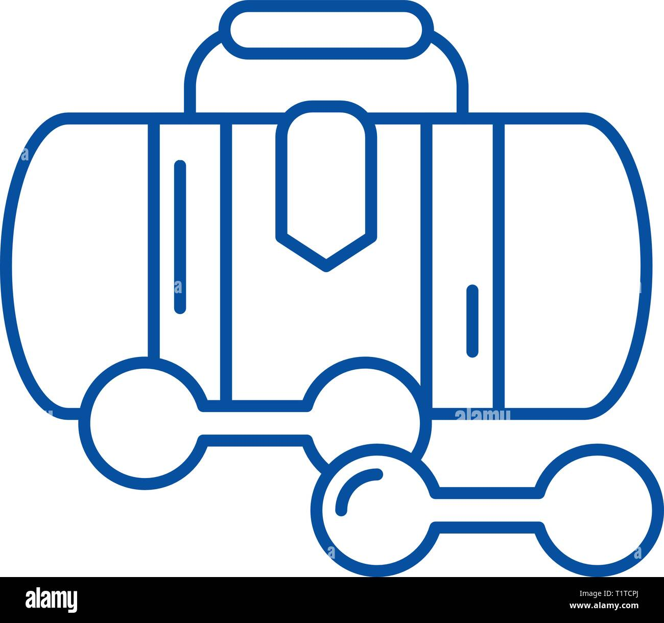 Sports bag line icon concept. Sports bag flat  vector symbol, sign, outline illustration. Stock Vector