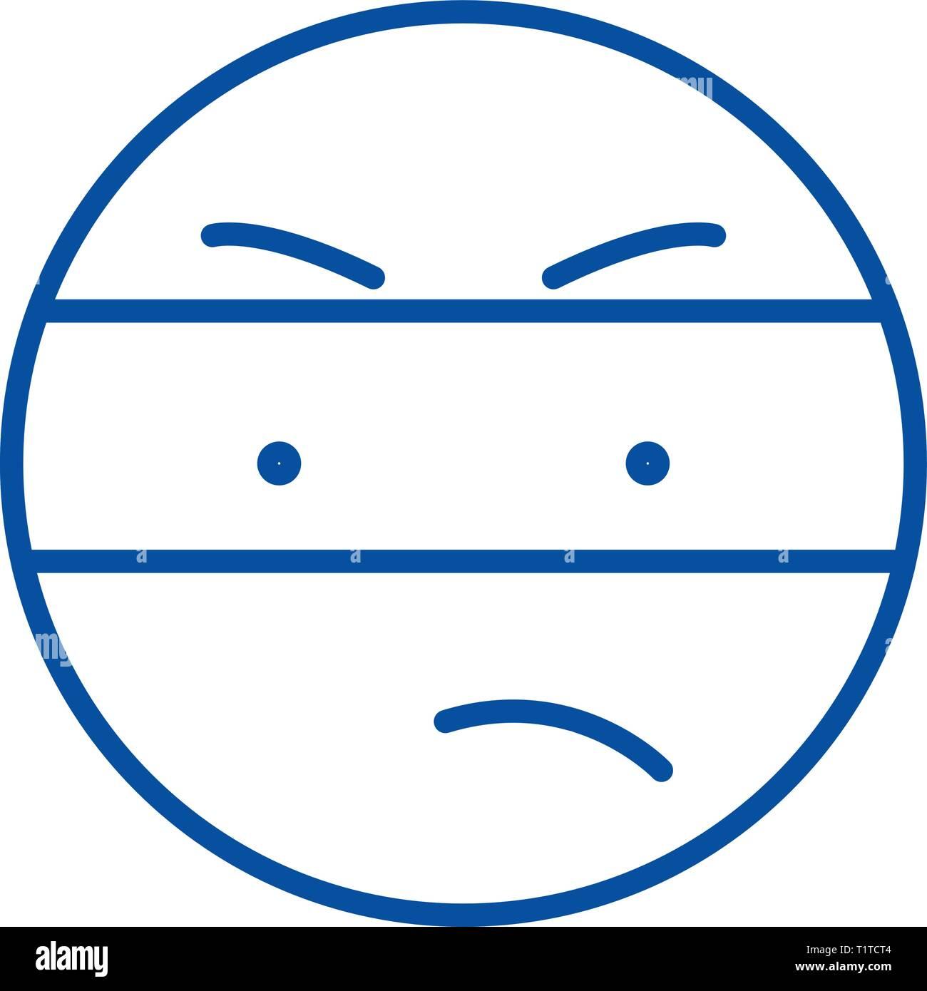 Spy emoji line icon concept. Spy emoji flat  vector symbol, sign, outline illustration. - Stock Vector