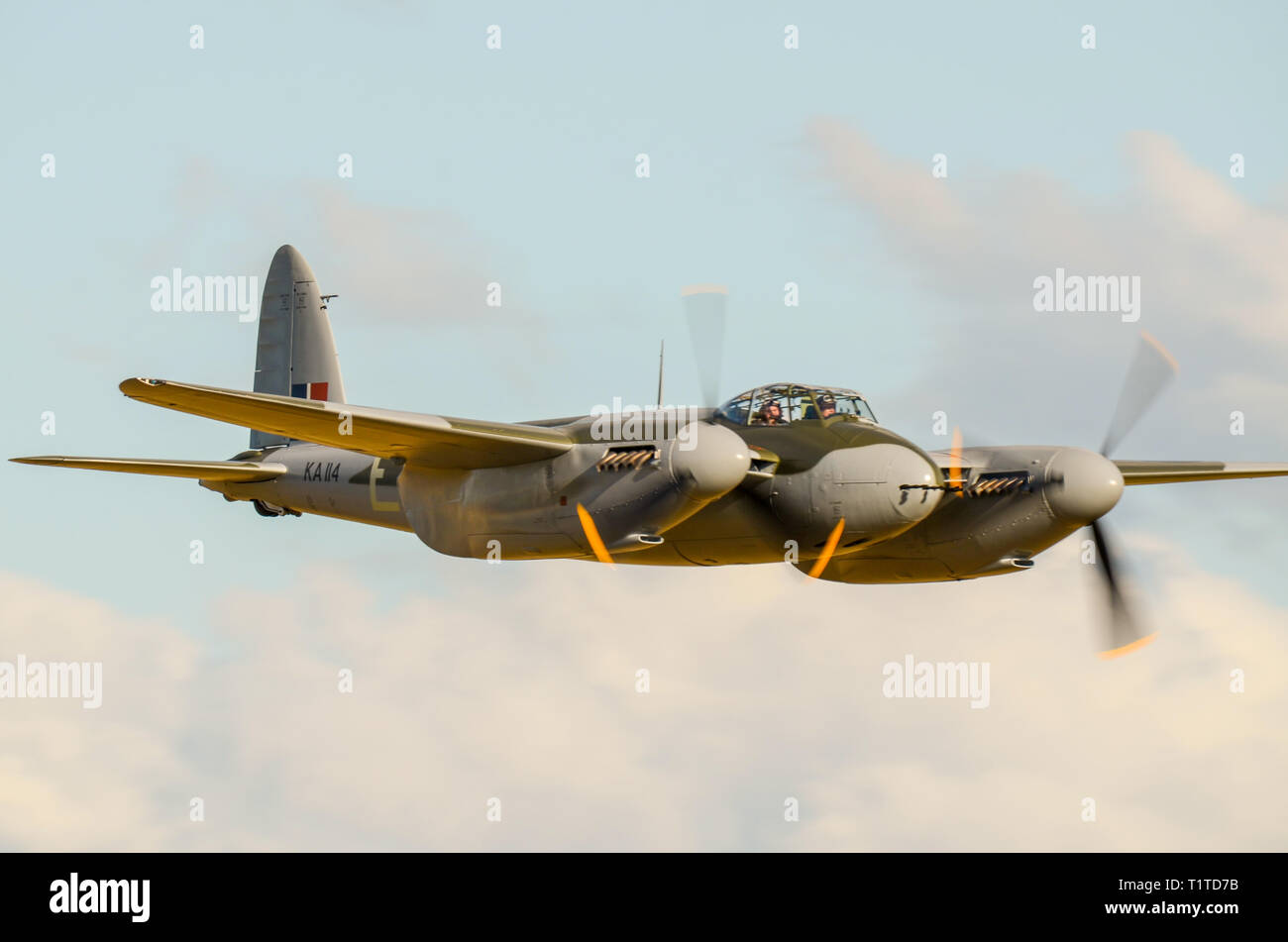 de Havilland DH.98 Mosquito was a British multi-role combat aircraft with a two-man crew that served during and after WWII. Restored to flight - Stock Image