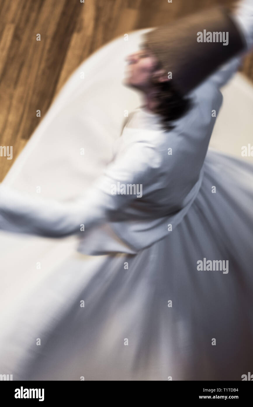 Whirling Dervishes or Semazen in Konya, Turkey - Stock Image