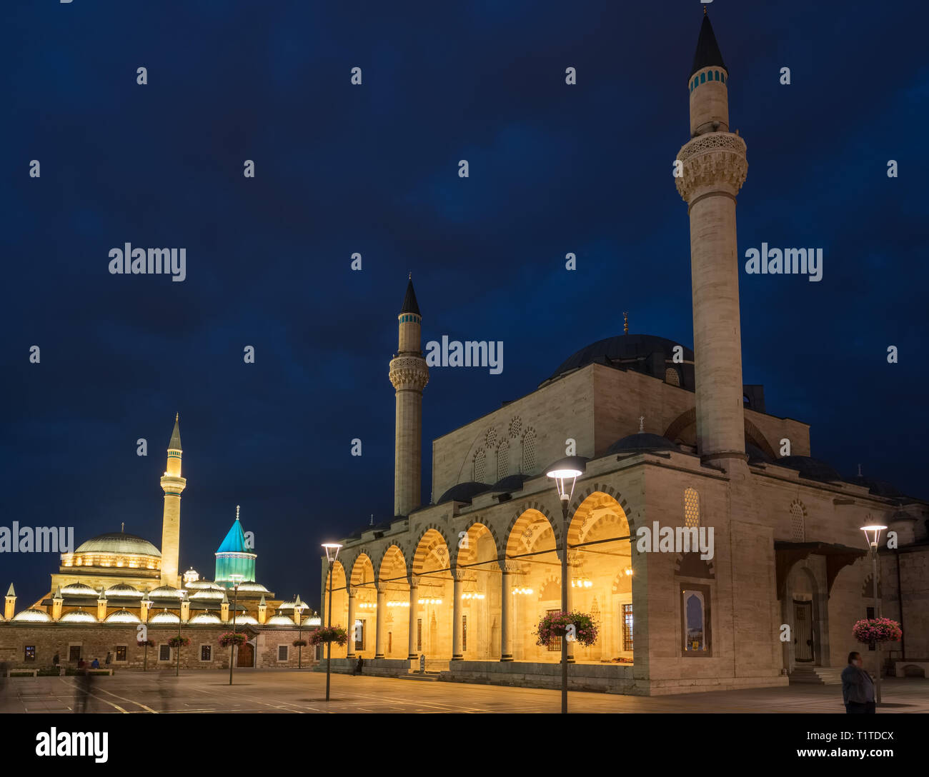 The central square of the old town of Konya at night, Turkey - Stock Image
