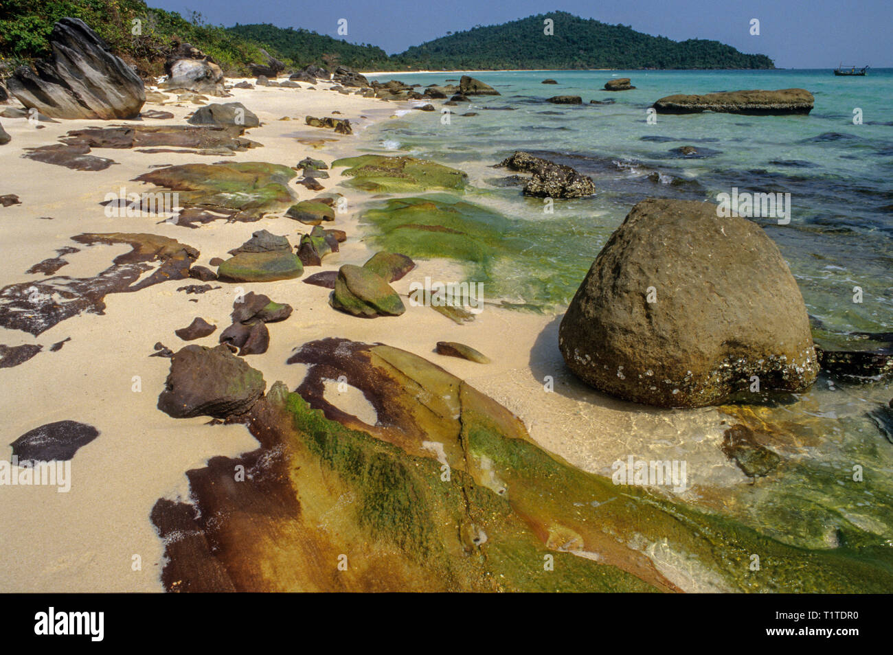 Wild shore in the South of Bai Sao beach in Phu Quoc island on Vietnam - Stock Image
