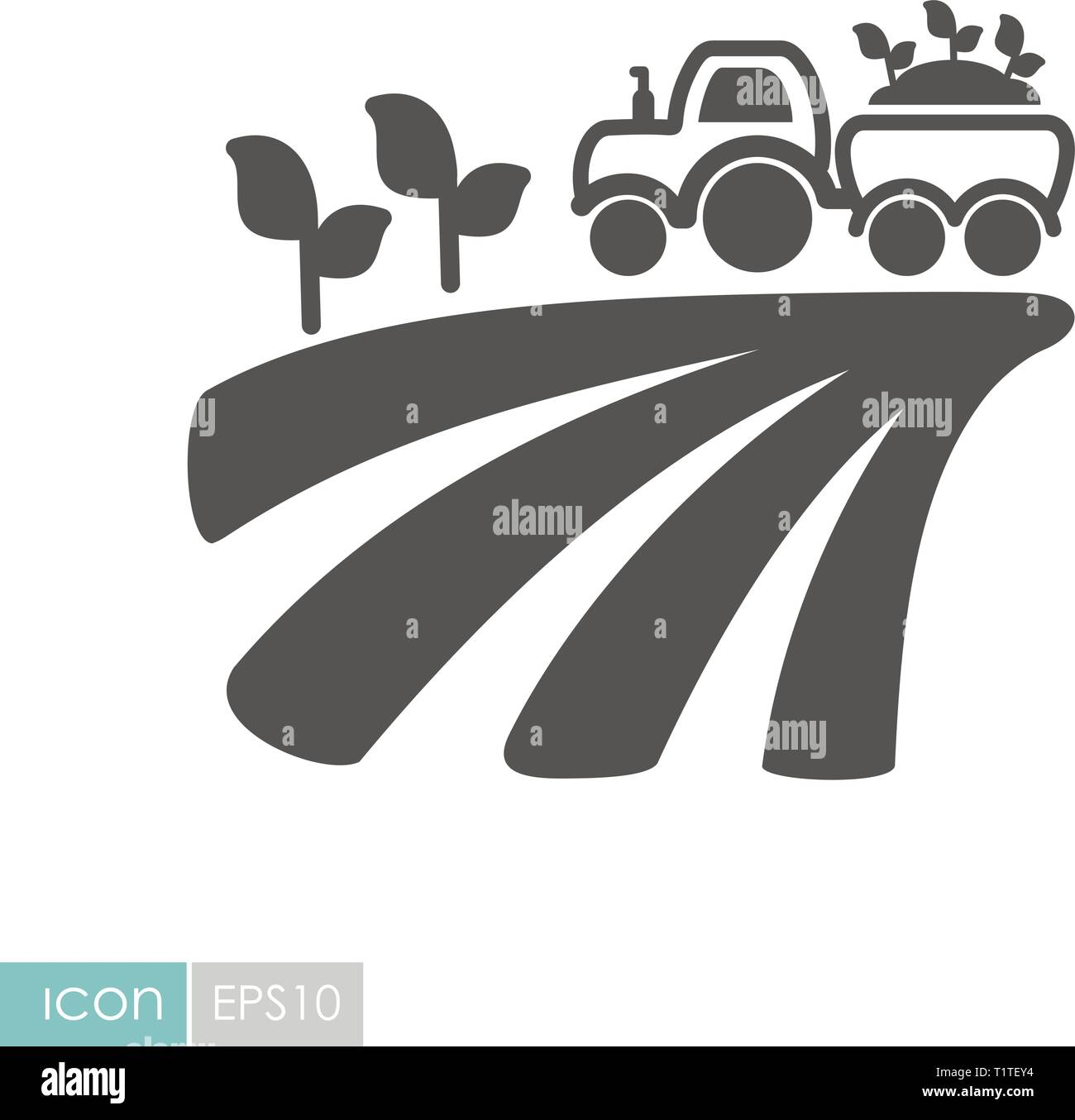 Tractor on field harvest seedling flat icon. Agriculture sign. Graph symbol for your web site design, logo, app, UI. Vector illustration, EPS10. - Stock Vector