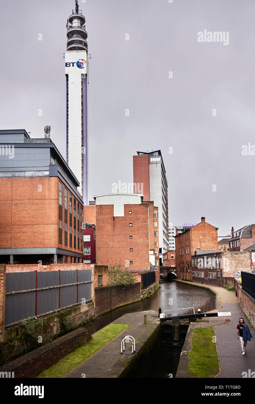 BT Tower and the canal in the centre of Birmingham - Stock Image