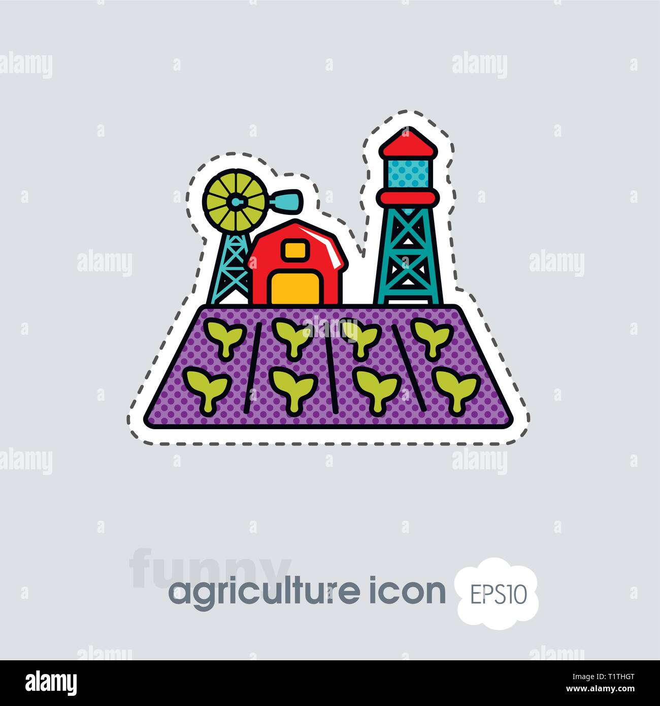 Farm landscape with barn, windpump, seedling and water tower icon. Agriculture sign. Graph symbol for your web site design, logo, app, UI. Vector illu - Stock Vector
