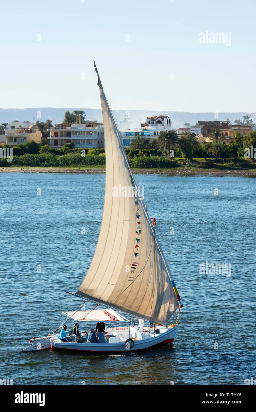 Ägypten, Luxor, Blick über den Nil zur Westbank, Segelboot - Stock Image