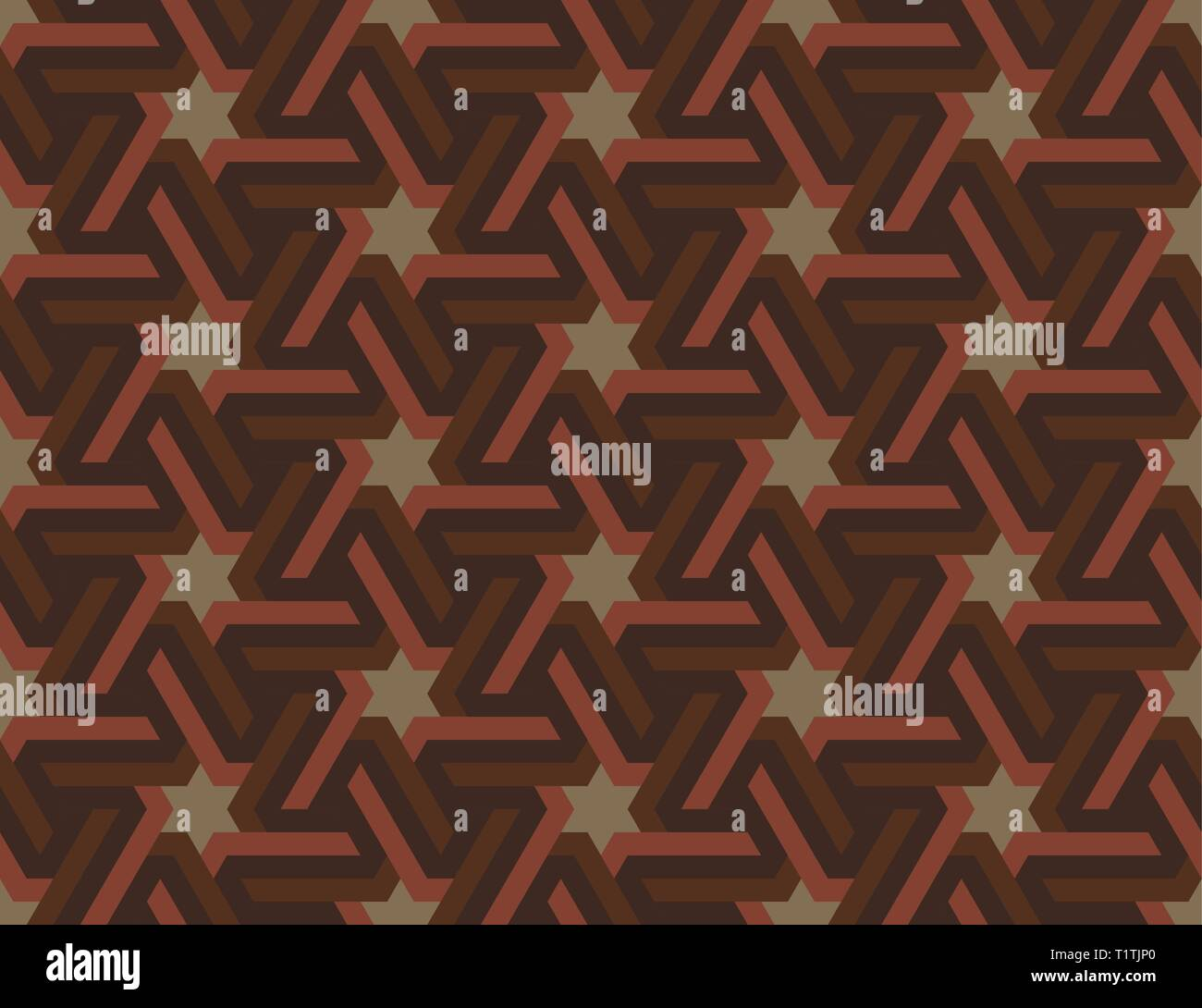 Seamless geometric Islamic ornament with hexagonal stars. Multicolored Arabic ornament. Pattern of the countries of the Arabian Peninsula and the Midd - Stock Vector