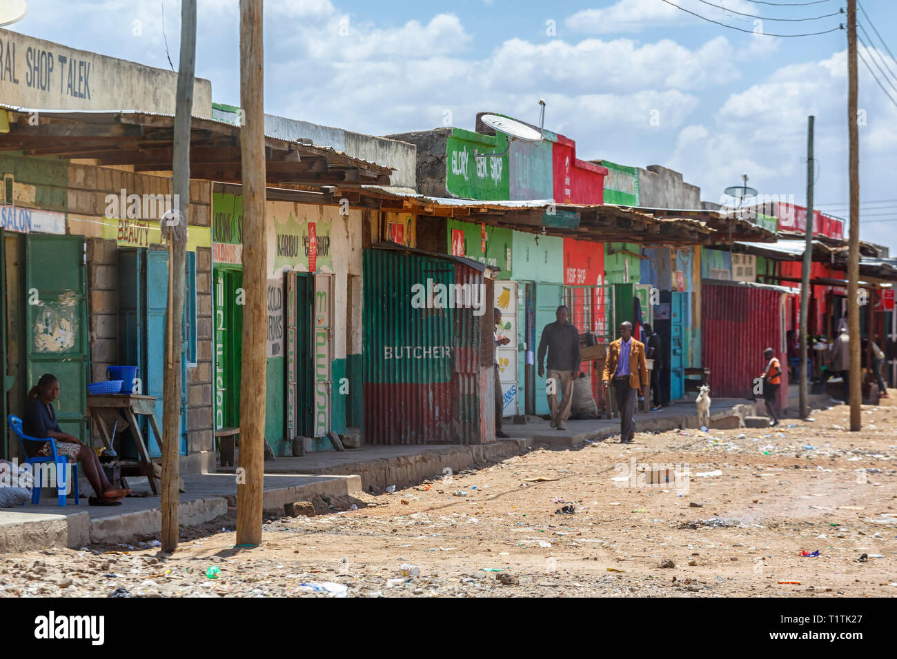 Small shops in a poor area in Africa - Stock Image