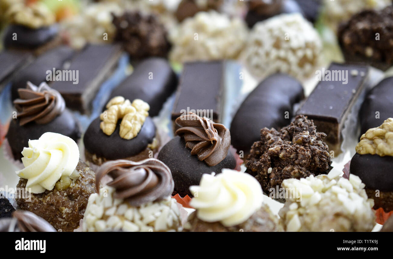 various homemade bonbons truffles ,catering food,image - Stock Image