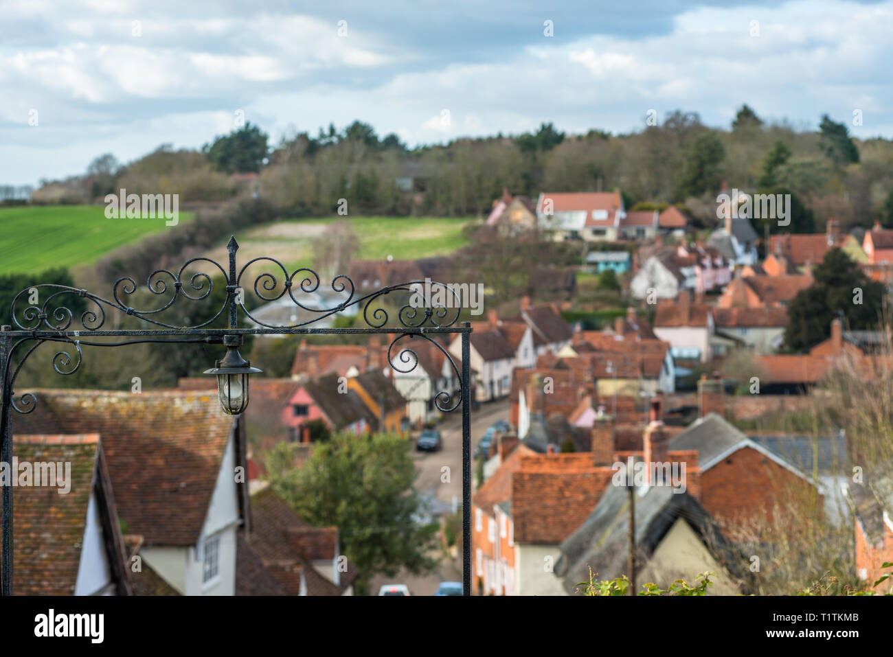 Elevated views across Kersey village and the countryside from the hill at St Mary's Church. Suffolk, East Anglia, England, UK. - Stock Image