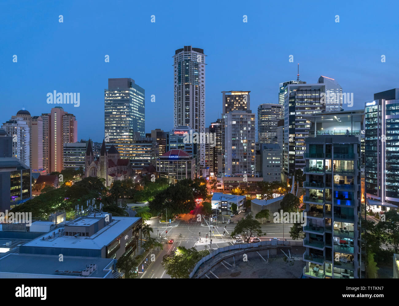 The skyline of the Central Business District (CBD) at night looking towards Cathedral Square, Brisbane, Queensland, Australia - Stock Image