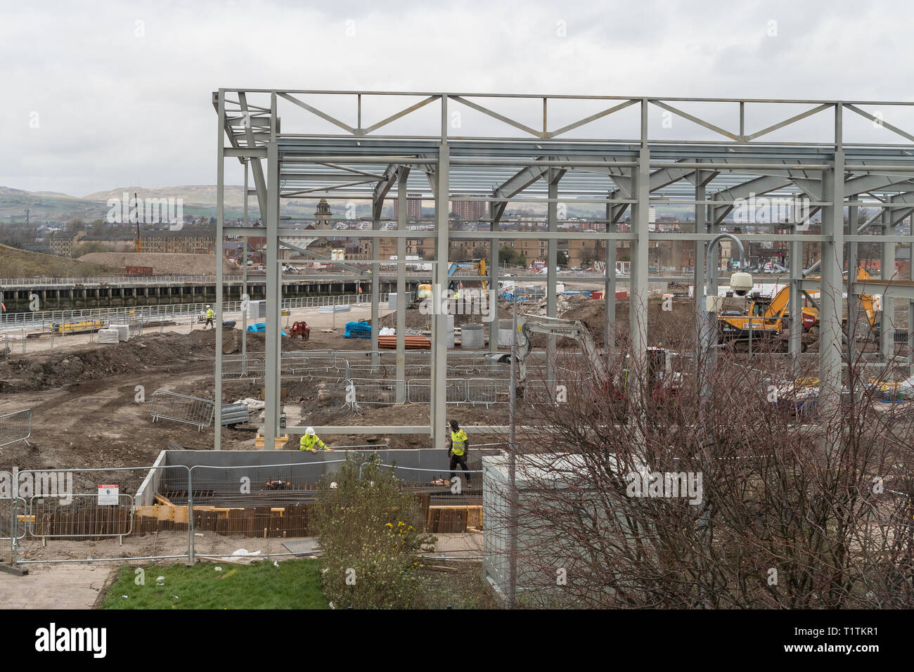 Clydebank energy centre construction at former John Brown's shipyard site, Queen's Quay, Clydebank, Glasgow, Scotland, UK Stock Photo