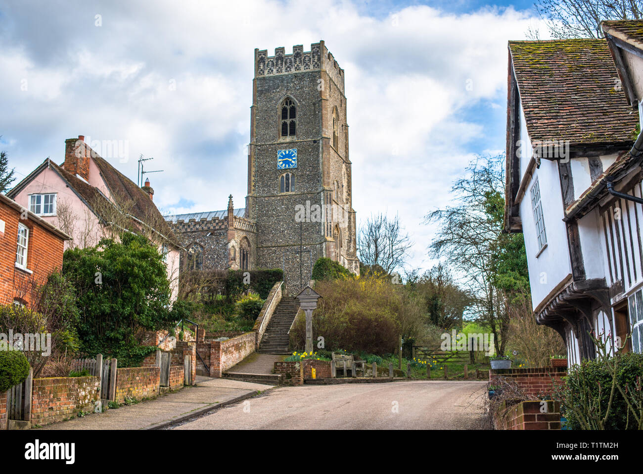 St Mary's Church at Kersey village, Suffolk, East Anglia, England, UK. - Stock Image