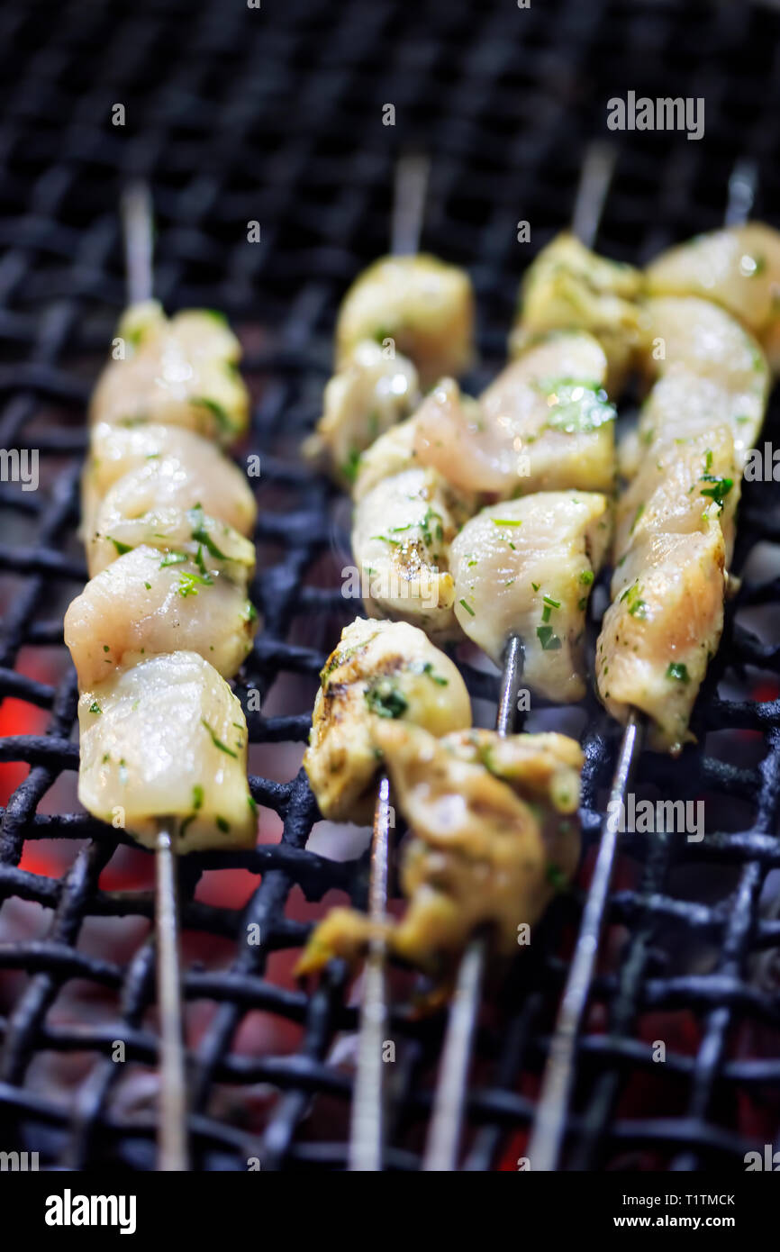 Raw chicken kebab shashlik Stock Photo