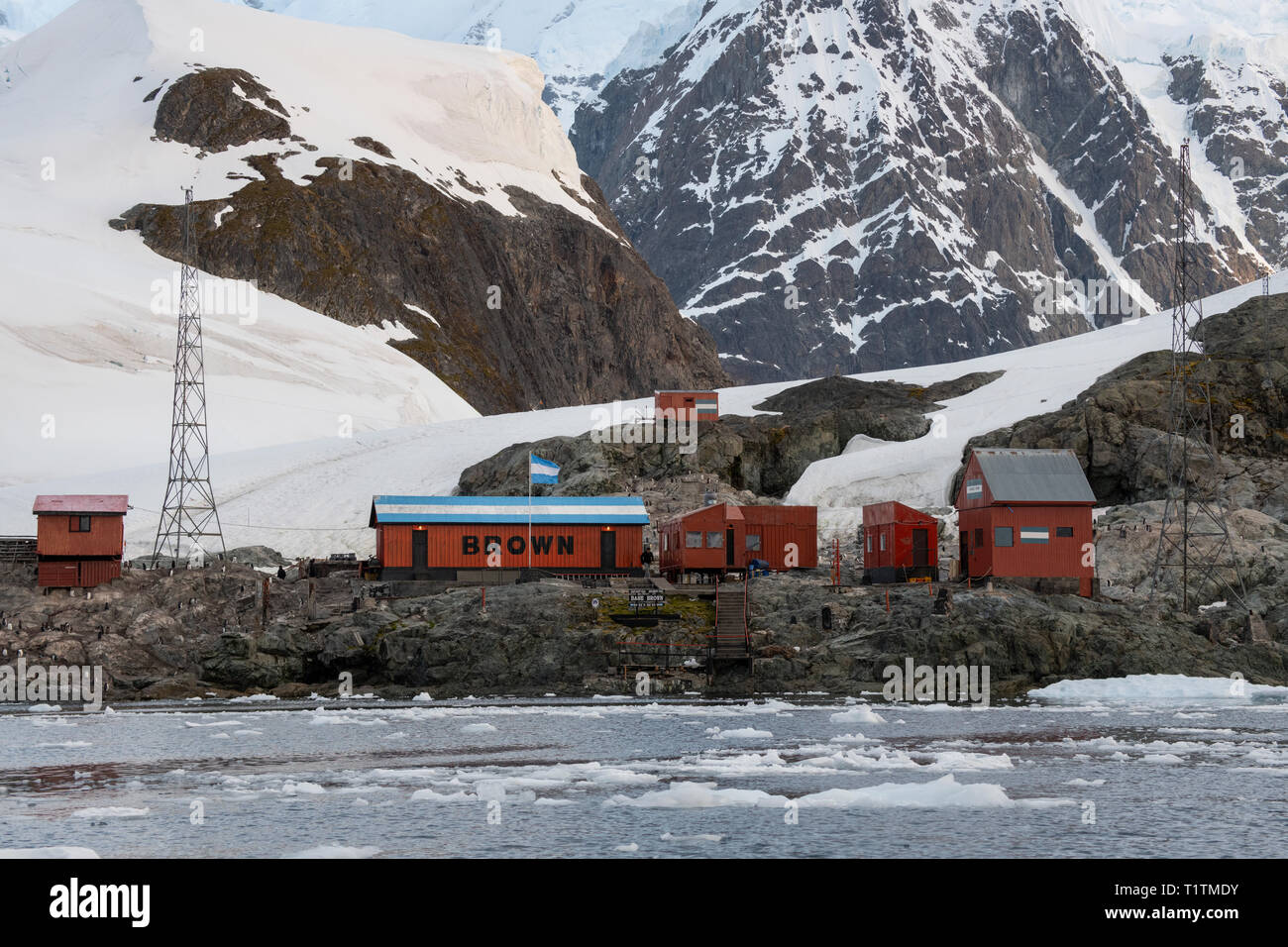 """Antarctica, Paradise Harbour aka Paradise Bay. Argentine owned station, Base Brown aka Brown Station. 64"""" 53' S  62"""" 53' W Stock Photo"""