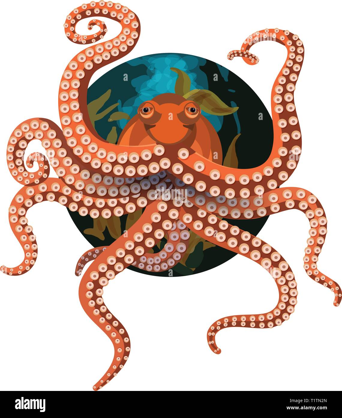 Octopus on a circular background with air bubbles and seaweed behind. - Stock Vector