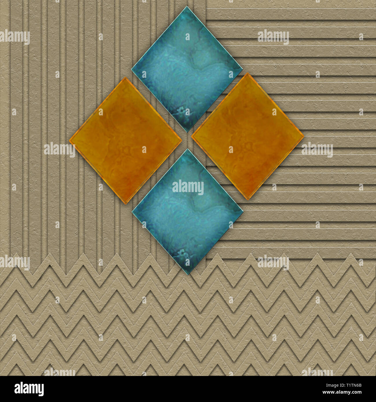 Geometric Graphic Background in brown tones with textured effects.  Marble-like Diamond shapes in turquoise blue and orange. - Stock Image