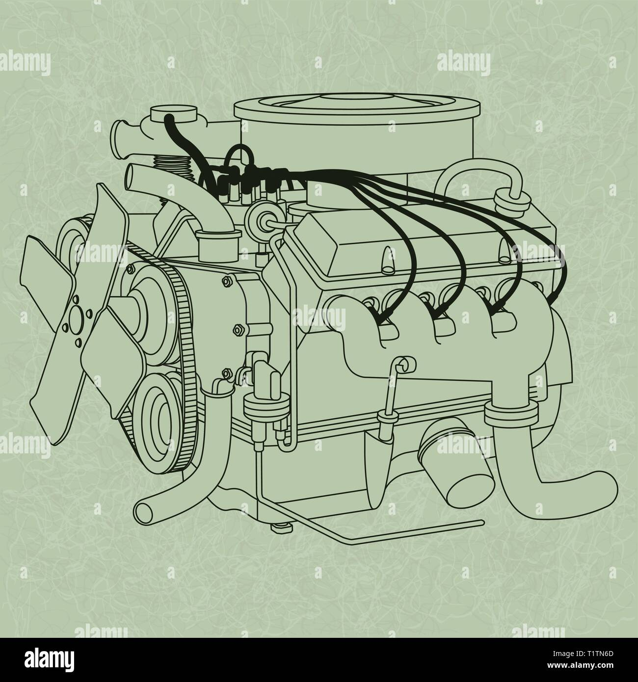 Generic Car Engine Diagram  On A Green Page Background  In