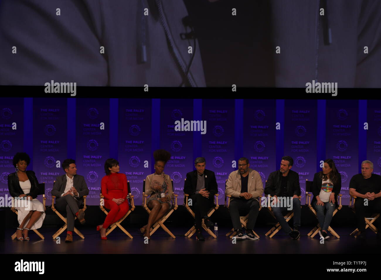 HOLLYWOOD - MARCH 24, 2019: Producer Jordan Peele and the cast of 'The Twilight Zone' discuss their favorite episodes of Rod Serling's classic series. - Stock Image