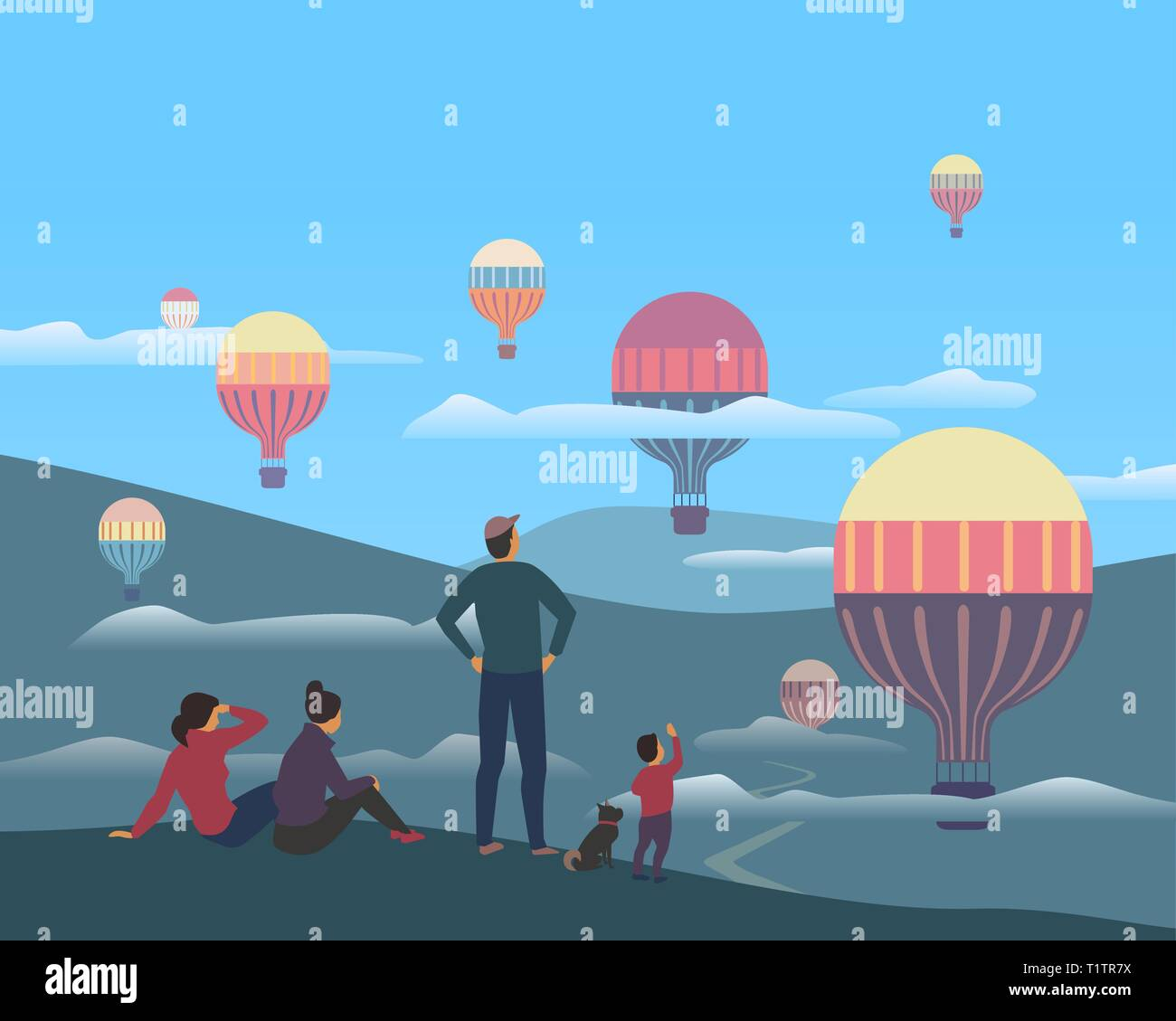 Hot air balloons flight in mountains valley. Stylized outdoor poster. Flying ballon holiday flat cartoon. Travellers enjoy adventure of ballooning fli - Stock Vector