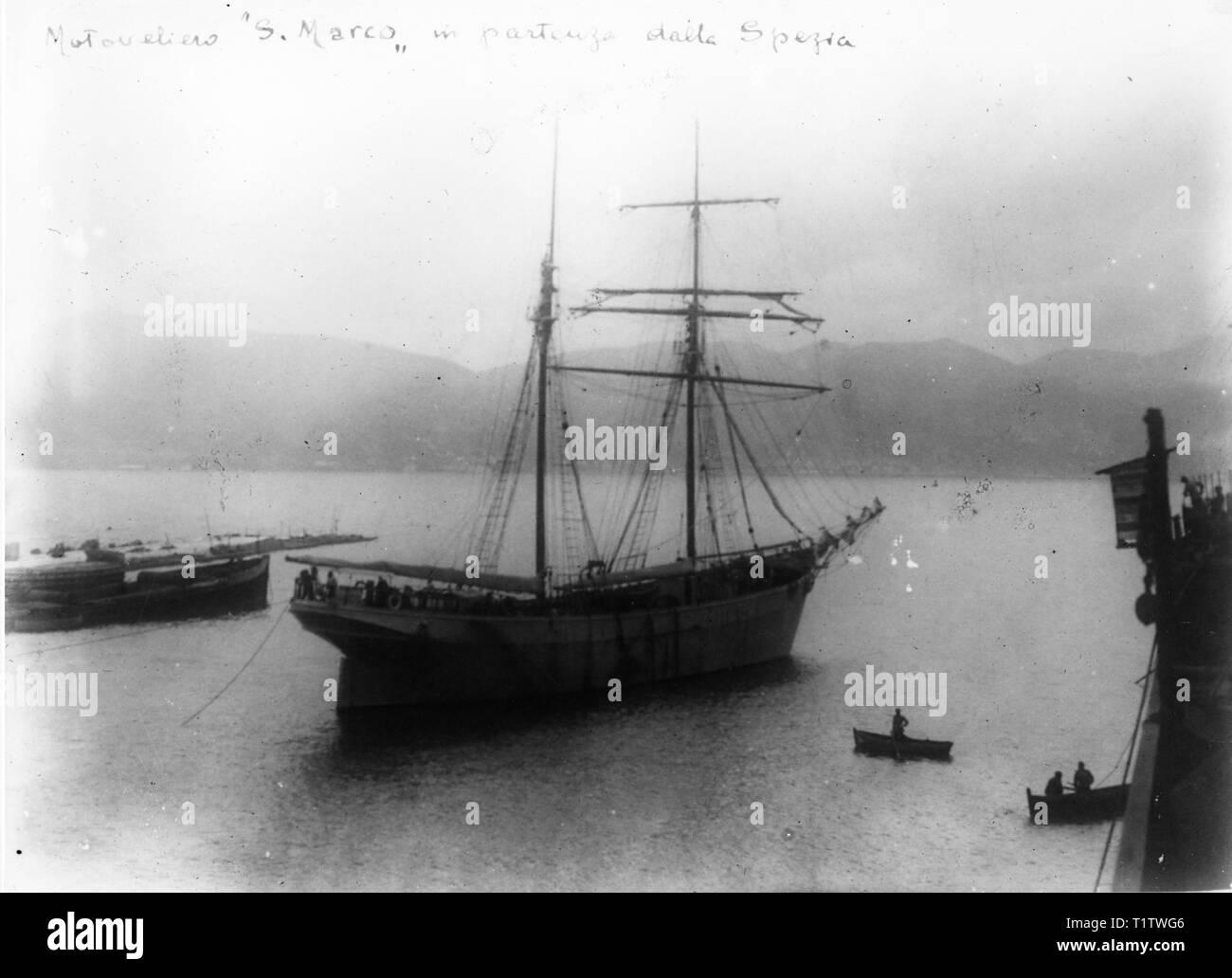 Sail Boat, mediterranean sea, italy - Stock Image