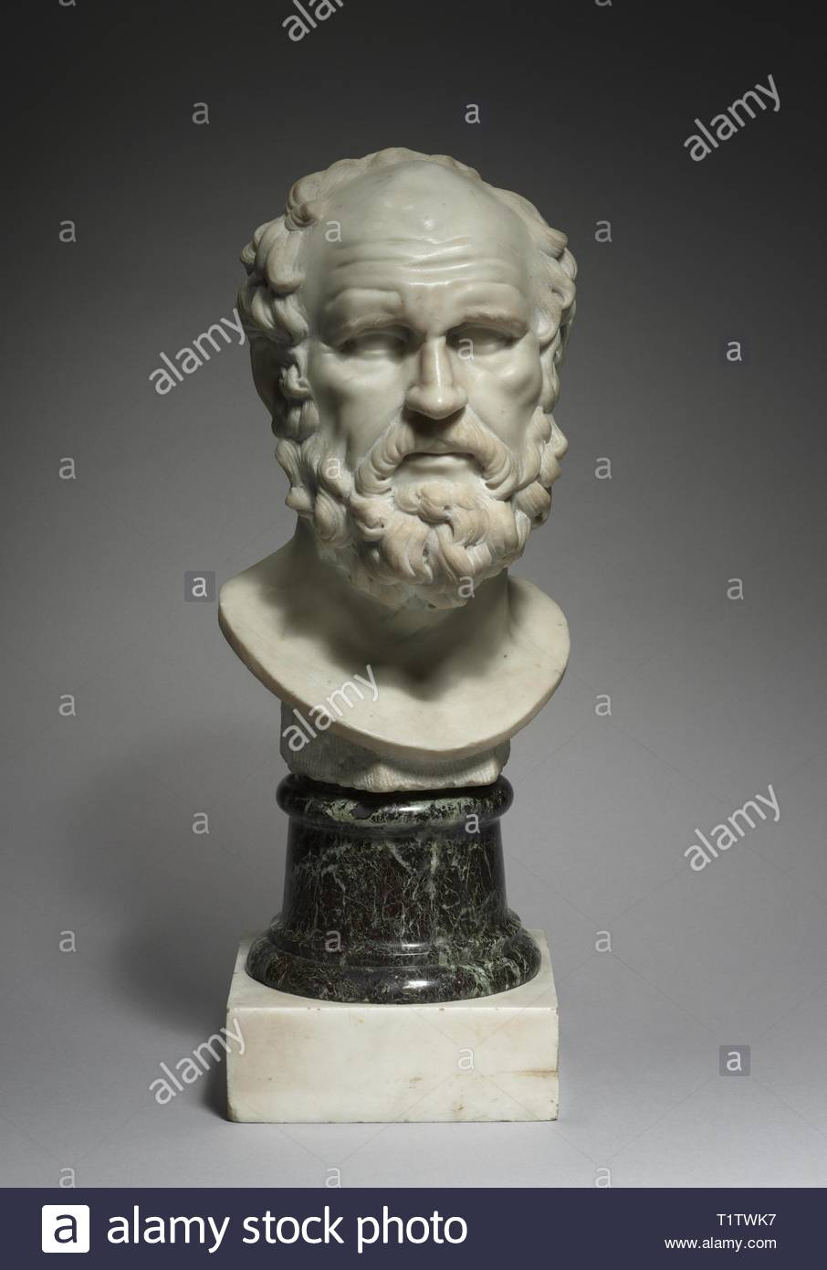 A Philosopher, 1662. Pierre Puget (French, 1620-1694). Marble; overall: 39.4 x 22.6 x 25.4 cm (15 1/2 x 8 7/8 x 10 in.); base: 20.5 x 20.5 x 20 cm (8 1/16 x 8 1/16 x 7 7/8 in.). - Stock Image