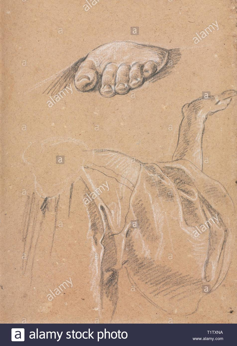 Verona Sketchbook: Study of a left foot and drapery study with right arm (page 79), 1760. Francesco Lorenzi (Italian, 1723-1787). Black chalk with white heightening ; sheet: 32 x 23 cm (12 5/8 x 9 1/16 in.). - Stock Image