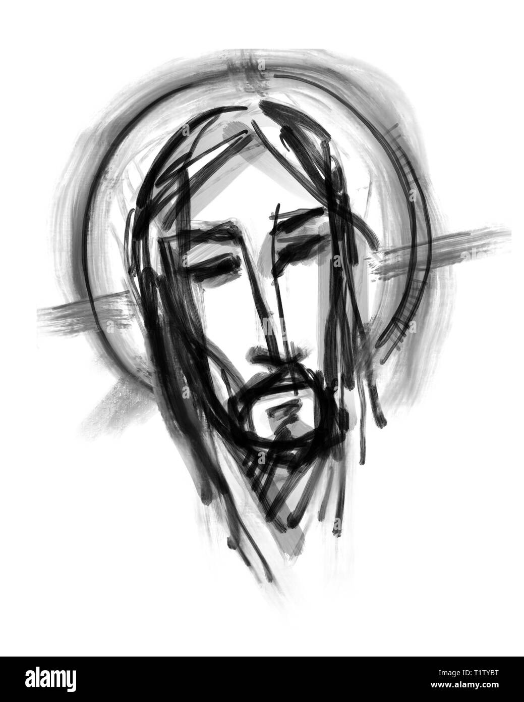 Hand drawn illustration or drawing of jesus christ face stock image
