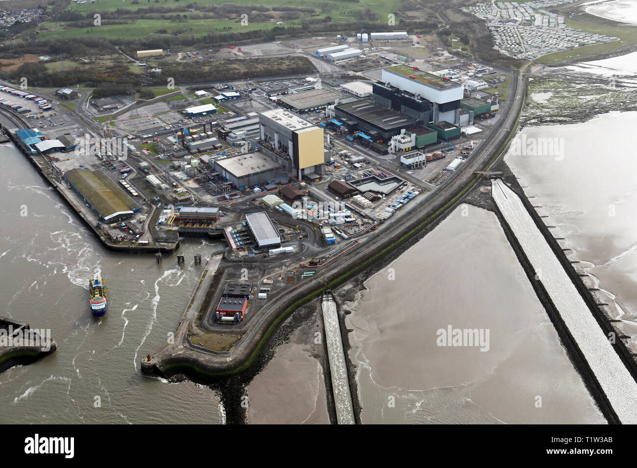 aerial view of Heysham Nuclear Power Station - Stock Image
