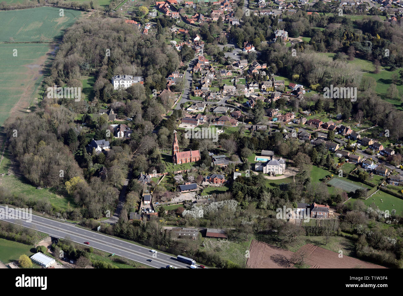 aerial view of the village of Winthorpe near Newark, Nottinghamshire - Stock Image