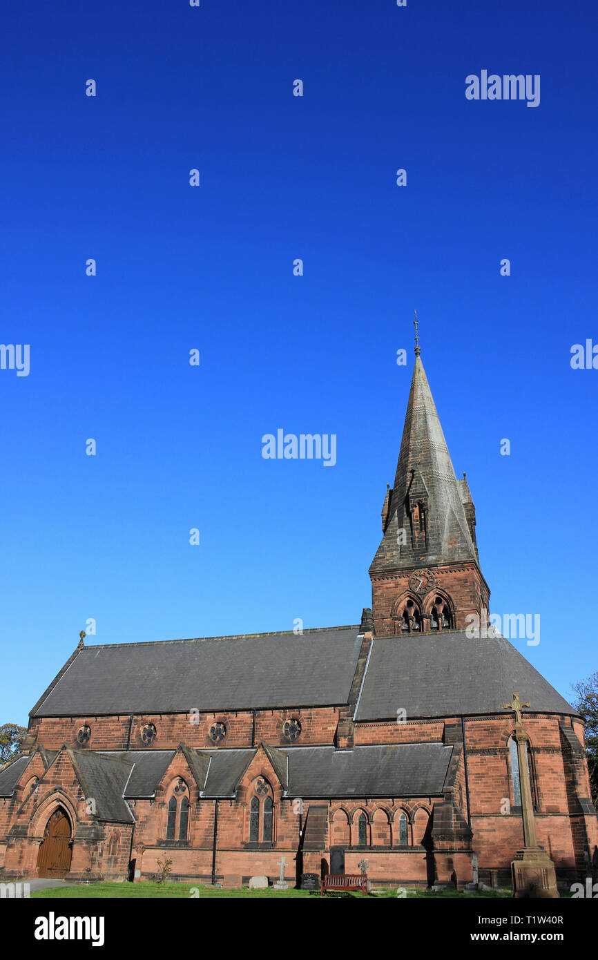 St Barnabas' Church, Bromborough, Wirral - Stock Image