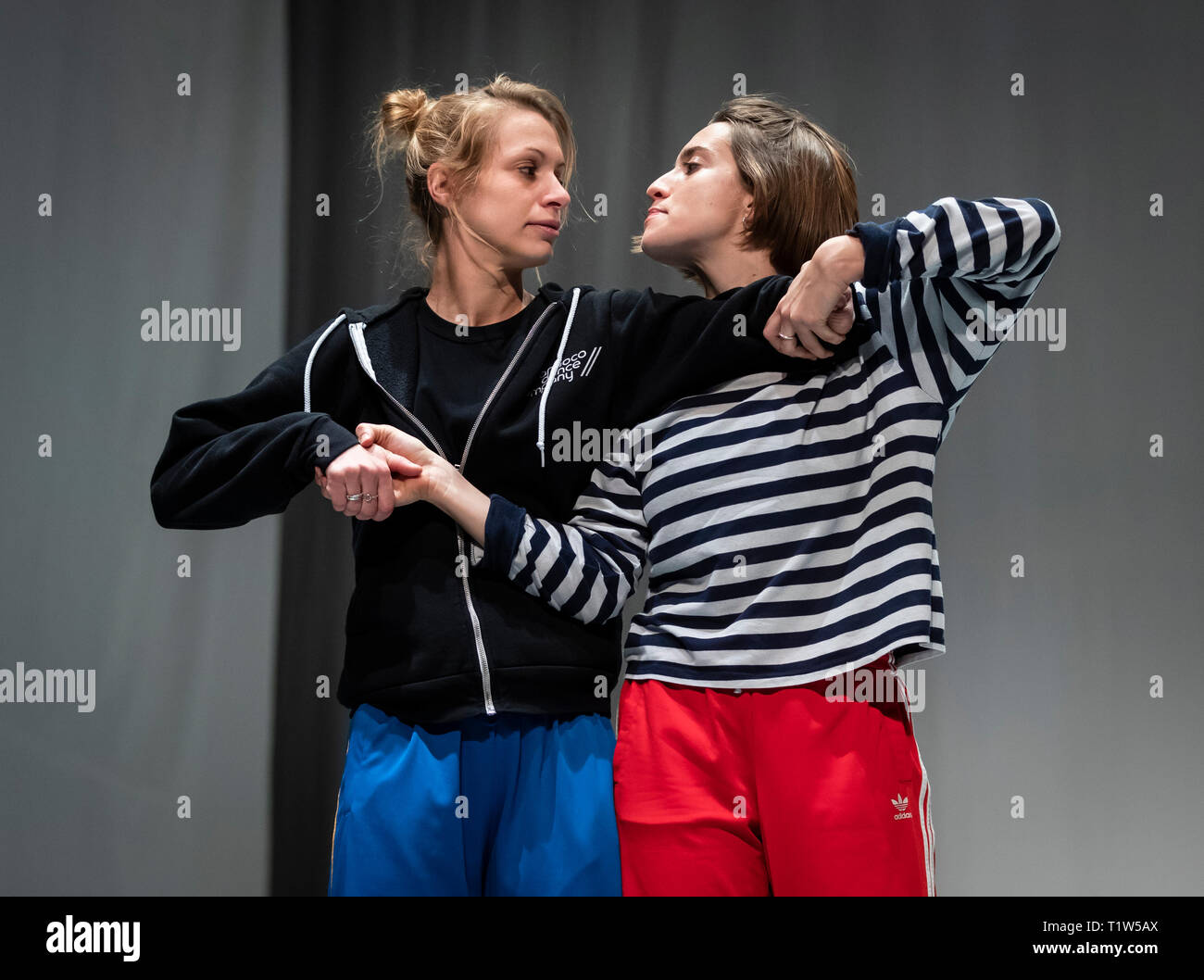 EDITORIAL USE ONLY Dancers from the Candoco Dance Company rehearse their Face In / Let's Talk About Dis performances, as part of the IETM Hull 2019 programme presented by Absolutely Cultured at Middleton Hall at The University of Hull. Stock Photo