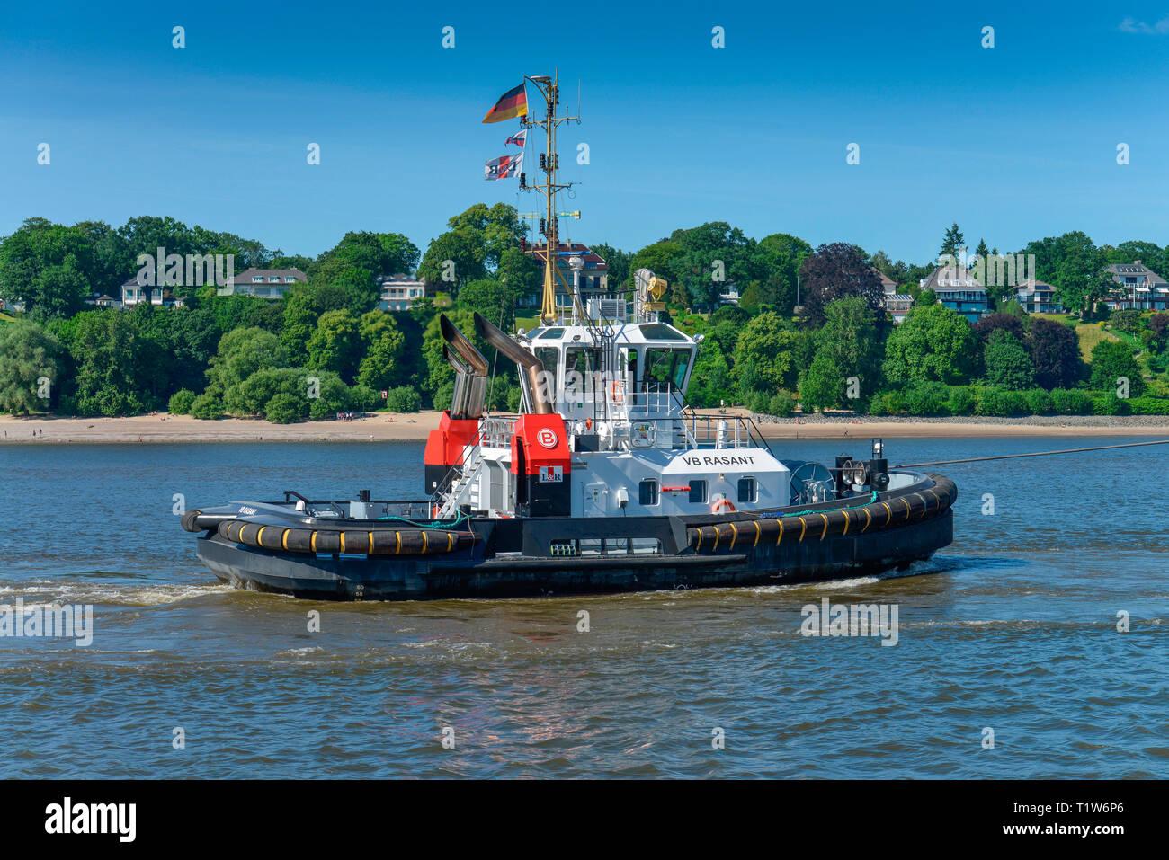 Schleppschiff, Elbe, Hamburg, Deutschland - Stock Image