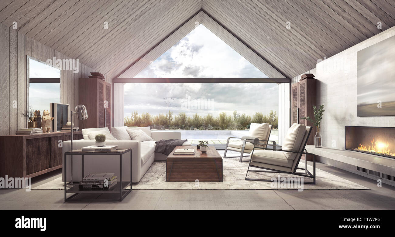 Modern living room with look on backyard with pool and garden 3D ...