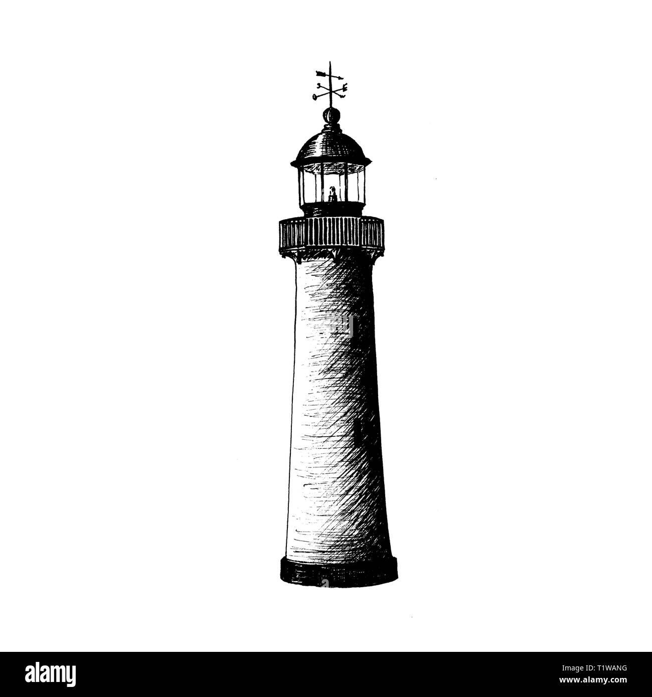 Lighthouse logo template design. illustration. beacon, sea-light, pike, light tower, guiding light, seamark. Ink pen sketch - Stock Image