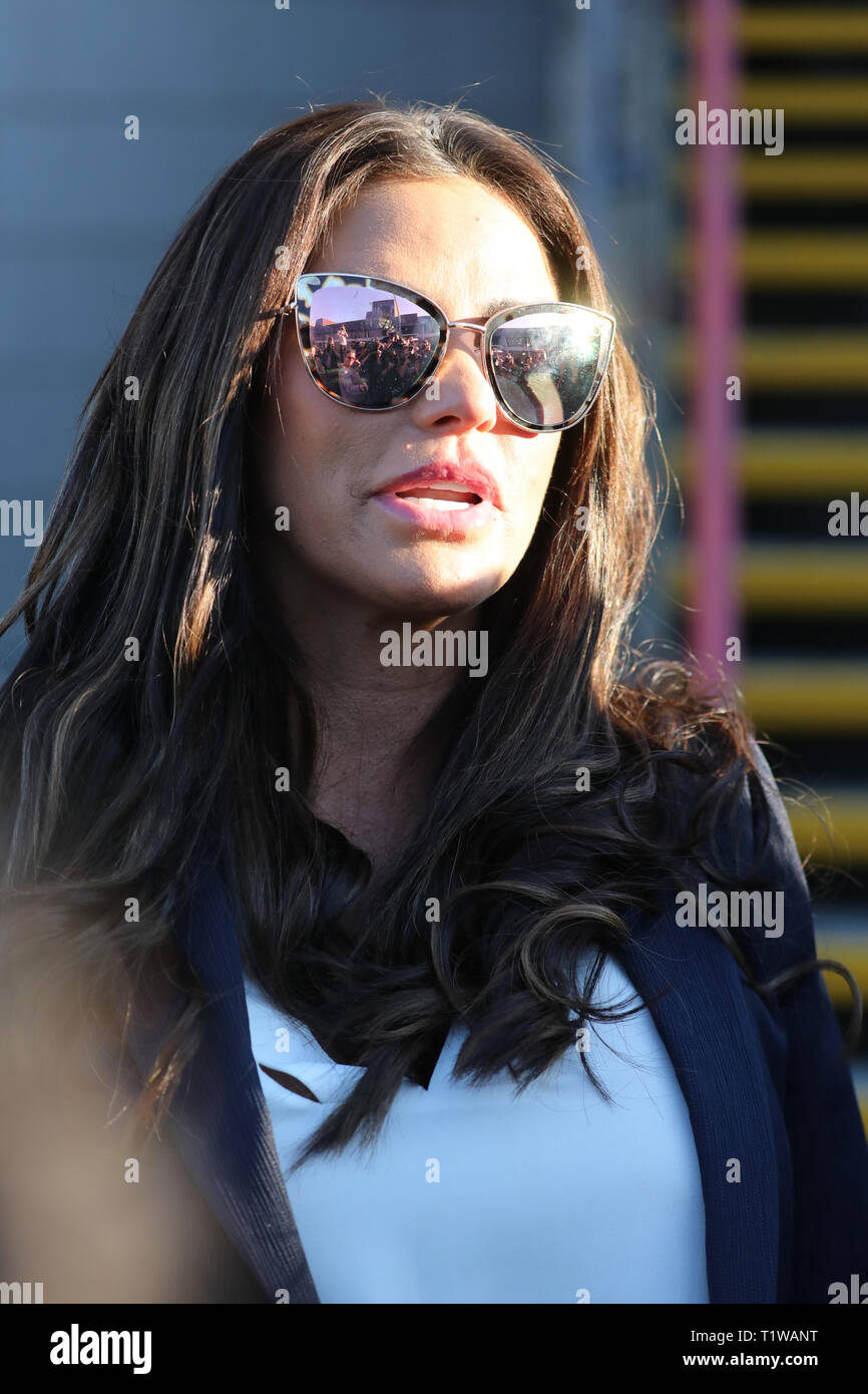 Katie Price at Bexley Magistrates' Court where she was convicted of being nearly twice the legal limit while in charge of her Range Rover on Shooters Hill Road, Greenwich, on 10 October 2018. Price was banned from driving for three months. A charge of drink-driving was dropped due to insufficient evidence.  Featuring: Katie Price Where: London, United Kingdom When: 25 Feb 2019 Credit: David Sims/WENN.com - Stock Image