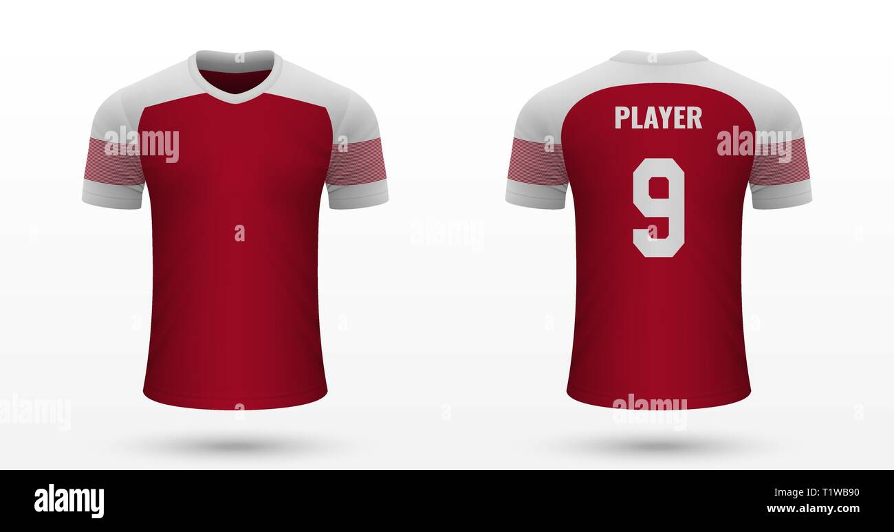check out b1dea 464d0 Realistic soccer shirt Arsenal, jersey template for football ...