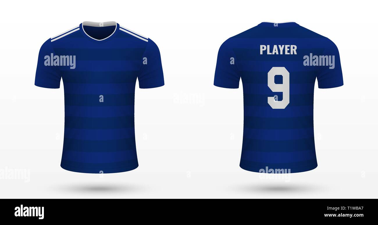 Realistic Soccer Shirt Cardiff City Jersey Template For Football