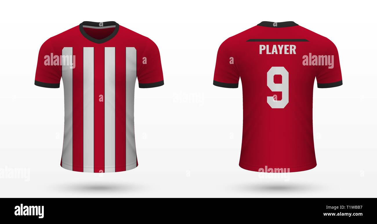 sports shoes 95b35 ccf83 Realistic soccer shirt Southampton, jersey template for ...