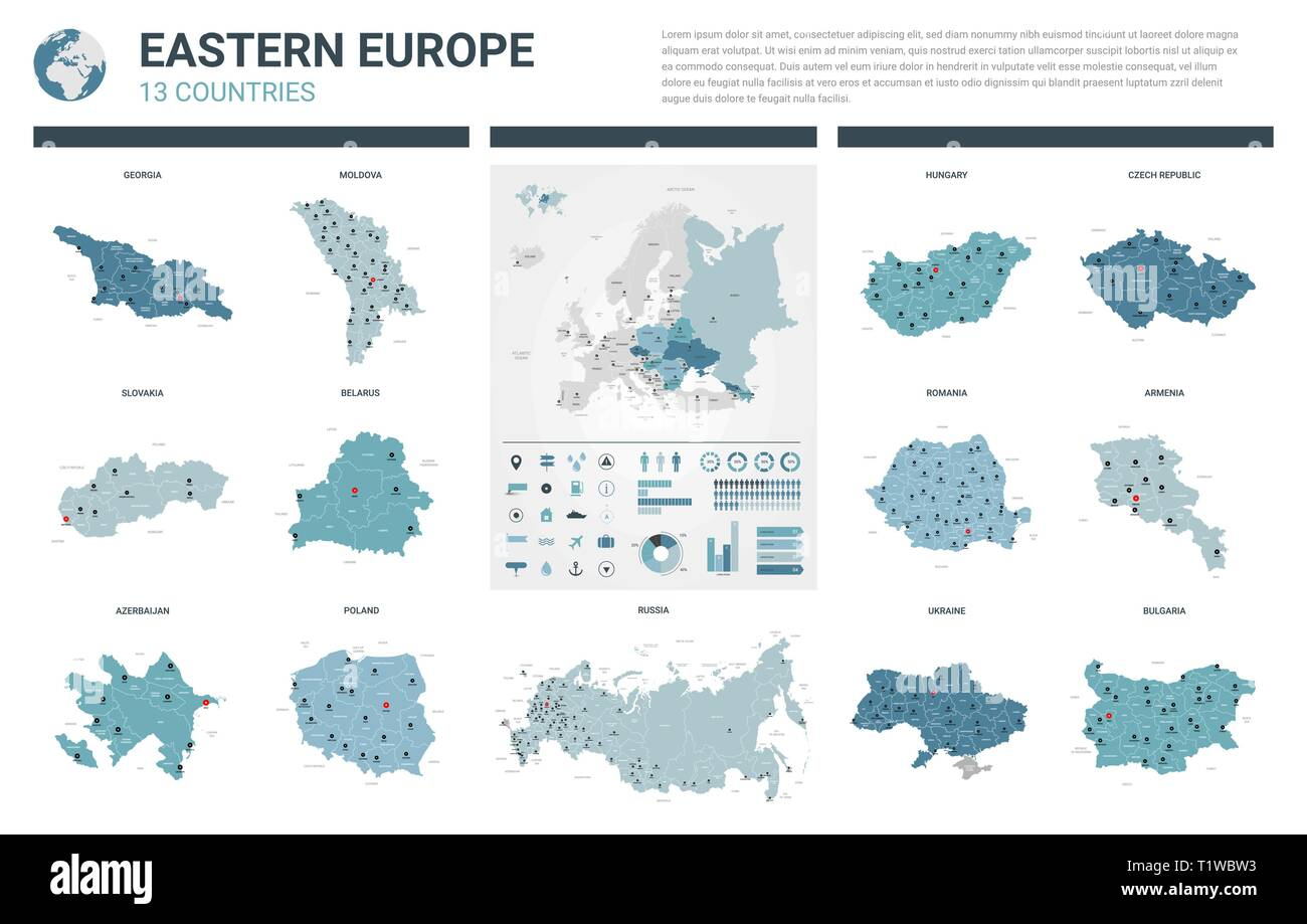 Vector maps set. High detailed 13 maps of Eastern Europe countries ...