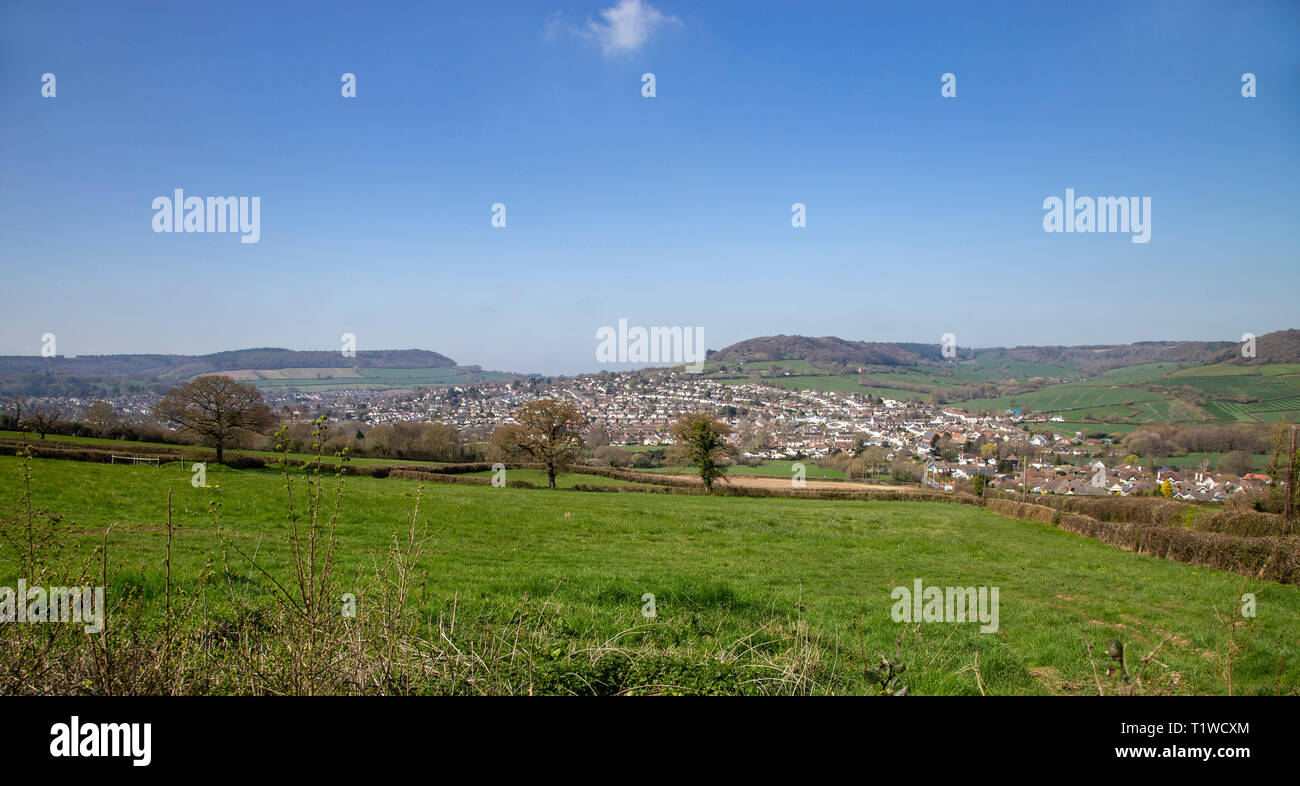 View looking from Trow Hill over to Sidmouth and Sidford, Devon, UK Stock Photo