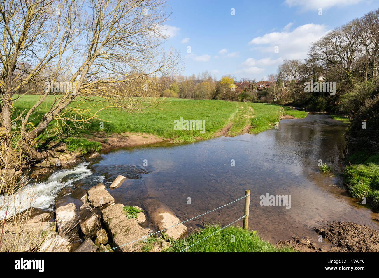 The river Sid at Fortescue, on the outskirts of Sidmouth, Devon, UK Stock Photo