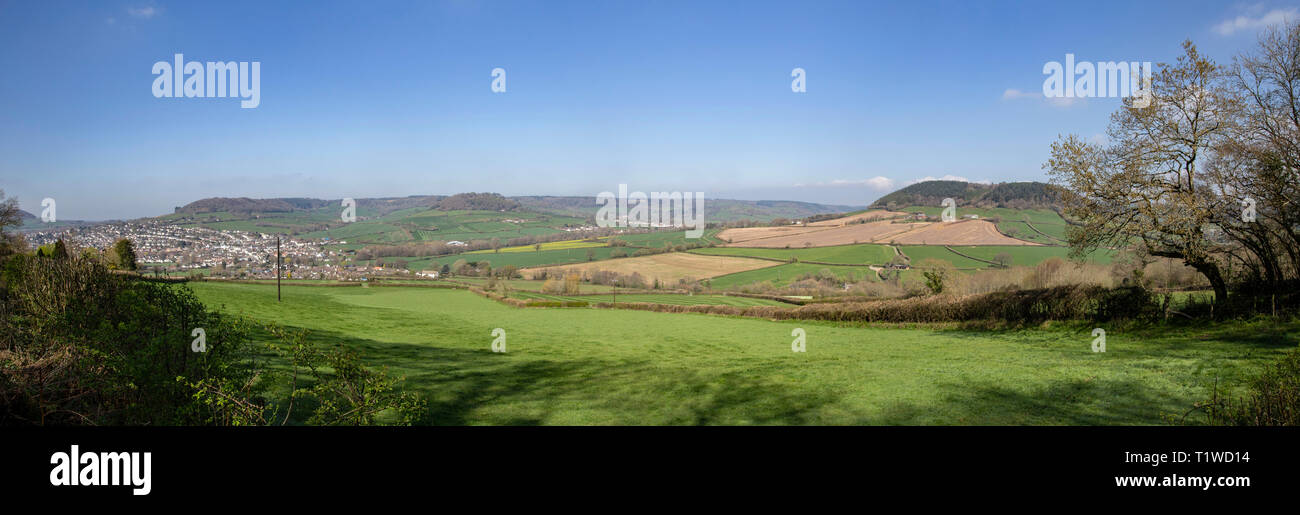 View looking across the Sid Valley, near Sidmouth, Devon, looking from Trow Hill to L) Core Hill and R) Buckton Hill. Stock Photo